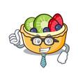 businessman fruit tart character cartoon vector image
