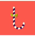 Candy Stick Christmas Flat Icon vector image vector image