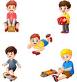 cartoon kids with different hobbies collection set vector image vector image