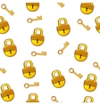 Cartoon seamless pattern gold Lock padlock and key vector image