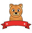 cat pet portrait domestic emblem vector image