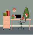 christmas office workplace scene with christmas vector image
