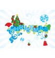 christmas text ornamental picture vector image