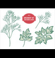 collection of hand drawn pastel greenery vector image vector image