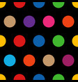 colorful rainbow polka dots on black background vector image
