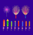 colourful firework rockets on blue background vector image vector image