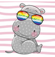 cute hippo with sun glasses vector image vector image