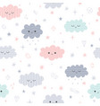 cute seamless pattern with cartoon clouds for vector image vector image