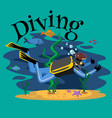 diving snorkelling water extreme sports isolated vector image vector image