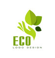 eco logo design healthy organic food label vector image vector image