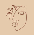fashion one line drawing logo women face vector image