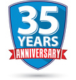 Flat design 35 years anniversary label with red vector image vector image