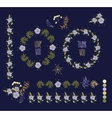 Floral Frame Collection Set of cute retro flowers vector image vector image
