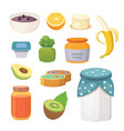 fruit organic jam and smoothie vector image vector image