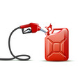 gas pump nozzle and red jerrycan canister gallon vector image