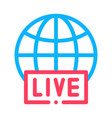 globe live news icon outline vector image