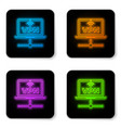 glowing neon vpn computer network icon isolated vector image vector image