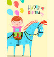 happy birthday card with boy riding horse vector image vector image