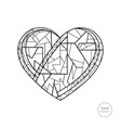 heart coloring book hand drawn abstract love vector image vector image