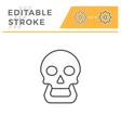 human skull line icon vector image vector image