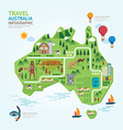 Infographic travel and landmark australia map shap vector image vector image