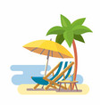lounge on beach under a palm tree vector image vector image