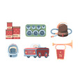made in ussr set red tin cans storing flour sugar vector image vector image