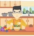 Man cooking vegetable salad vector image vector image