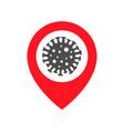 map point with coronavirus virus transmission vector image vector image