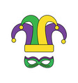 mardi gras hat jester and mask carnival vector image