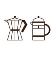 moka pot and press coffee maker icons vector image