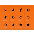 Moon eclipse icons on orange background vector image vector image
