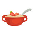 oatmeal with strawberry in bowl with handles and vector image vector image