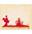 old paper with geisha silhouette and Asian vector image vector image