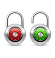 Open and closed realistic lock icon vector image vector image