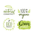 Organicbioecology natural labels set Green logo vector image