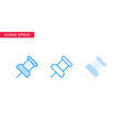 pin icon in line outline filled outline and flat vector image
