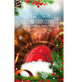 red santa hat with sparkles and fir branches vector image vector image