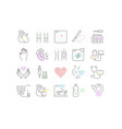 set flat line icons heart defect vector image