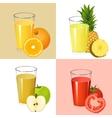 set fresh juices realistic transparent glasses vector image