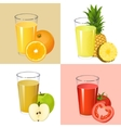 Set of fresh juices Realistic transparent glasses vector image vector image