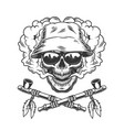 skull in panama hat and sunglasses vector image vector image
