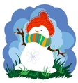 Snowman in Spring With Clouds vector image