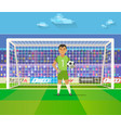 soccer goalkeeper keeping goal on arena vector image vector image