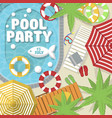 summer pool party invitation layout vector image vector image