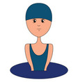 swimmer in blue swimsuit on white background vector image vector image