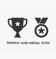 trophy and medal icon on white background vector image