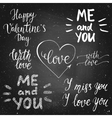 valentines day chalk calligraphy lettering set vector image