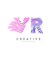 vr v r zebra lines letter logo design with vector image