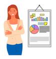 woman marketing manager making presentation vector image vector image